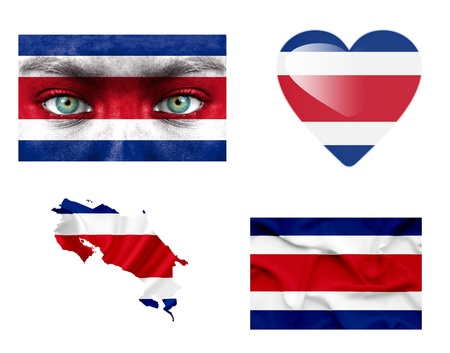 Set of various Costa Rica flags photo