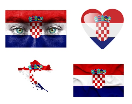 Set of various Croatia flags photo