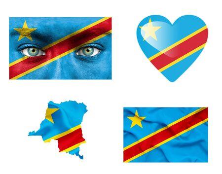 Set of various Democratic Republic of Congo flags photo