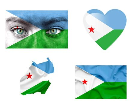 Set of various Djibouti flags photo