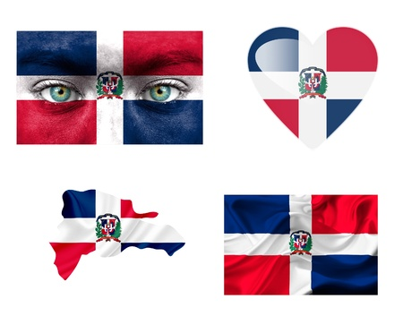 Set of various Dominican Republic flags photo