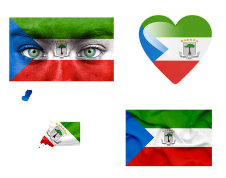 Set of various Equatorial Guinea flags photo