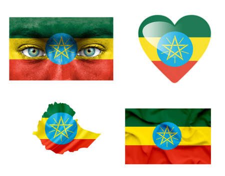 Set of various Ethiopia flags photo