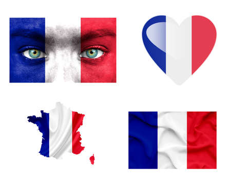 Set of various France flags photo