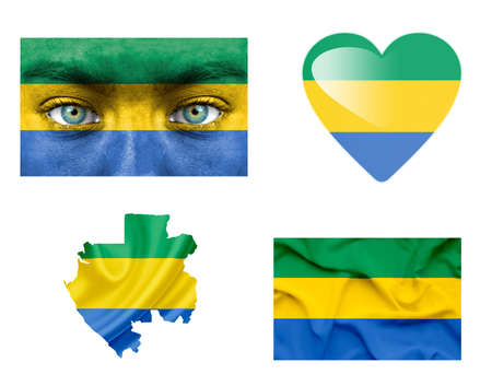 gabon: Set of various Gabon flags