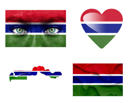 Set of various Gambia flags photo