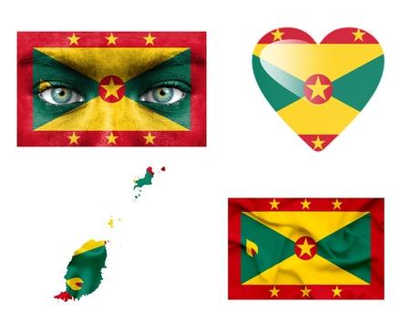 grenada: Set of various Grenada flags