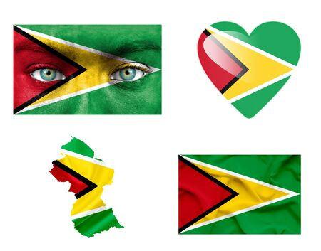 Set of various Guyana flags photo