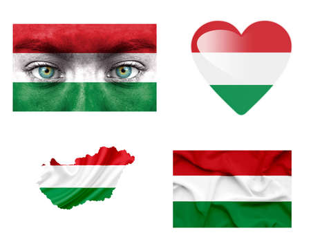 Set of various Hungary flags photo