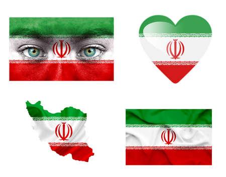 Set of various Iran flags photo