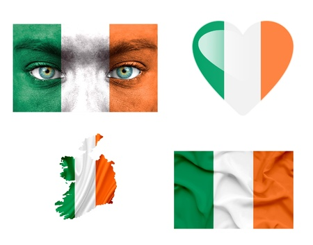 Set of various Ireland flags photo