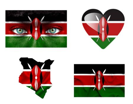 kenya: Set of various Kenya flags Stock Photo