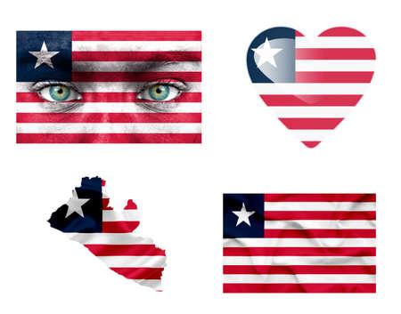 Set of various Liberia flags photo