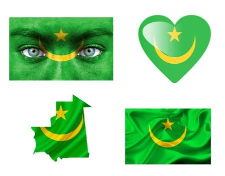 Set of various Mauritania flags photo