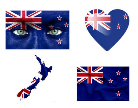 Set of various New Zealand flags photo