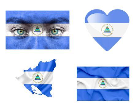 Set of various Nicaragua flags Stock Photo