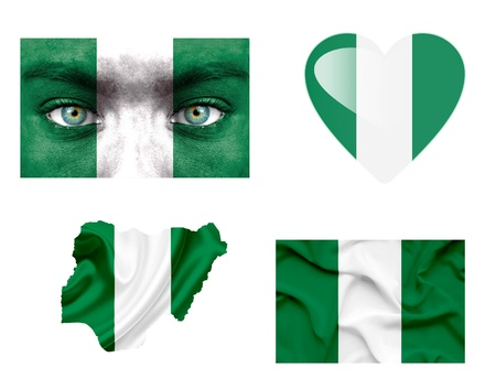 Set of various Nigeria flags photo
