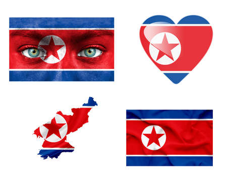 Set of various North Korea flags photo