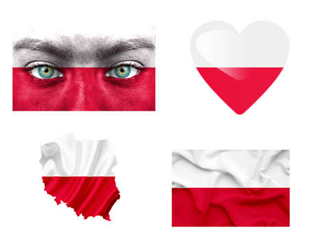 Set of various Poland flags photo