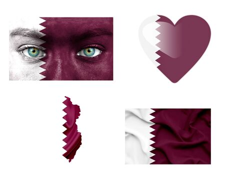 paper fan: Set of various Qatar flags
