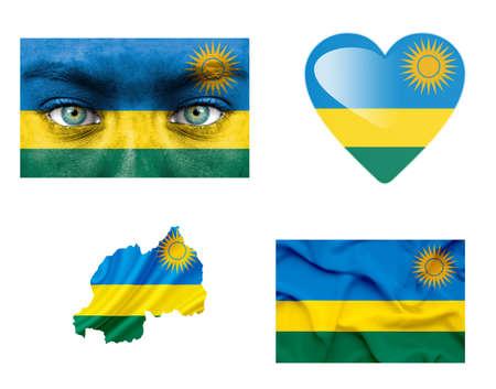 Set of various Rwanda flags photo