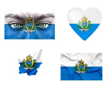 Set of various San Marino flags photo