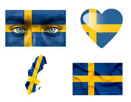 Set of various Sweden flags photo