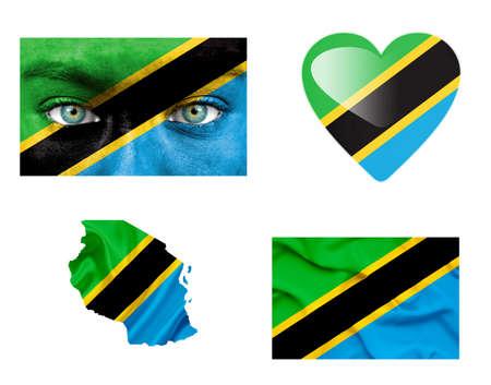 Set of various various Tanzania flags photo