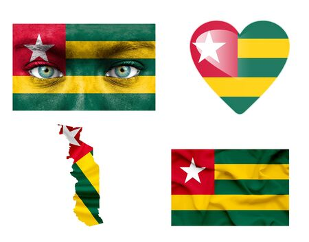 togo: Set of various various Togo flags Stock Photo