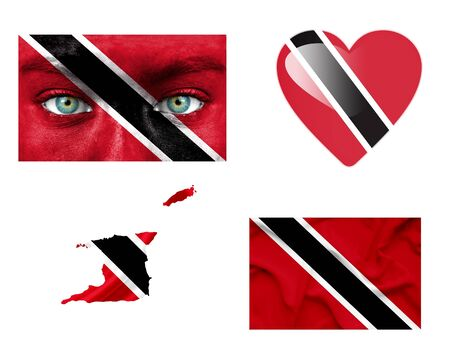 Set of various various Trinidad and Tobago flags photo