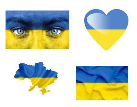 Set of various various Ukraine flags photo