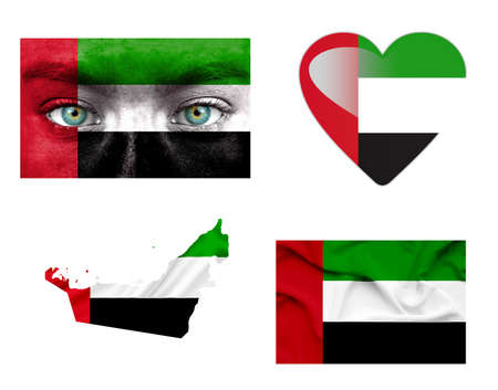 uae: Set of various various United Arab Emirates flags