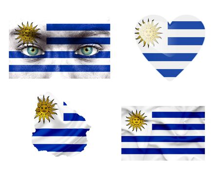 Set of various Uruguay flags photo