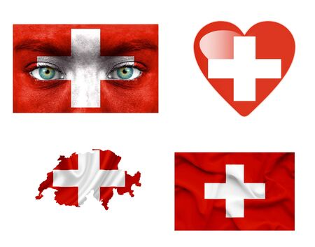 swiss flag: Set of various various Switzerland flags Stock Photo