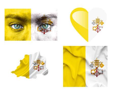 ciudad del vaticano: Conjunto de diversas banderas Ciudad del Vaticano Foto de archivo
