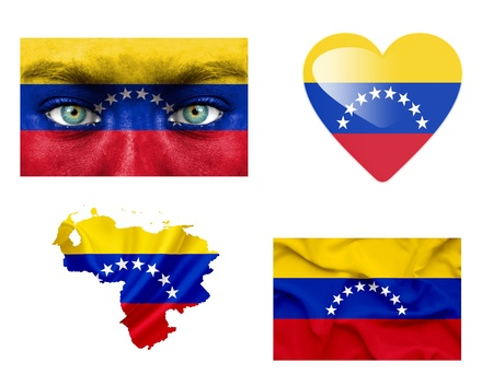 Set of various Venezuela flags photo