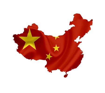 the republic of china: Map of China with waving flag isolated on white