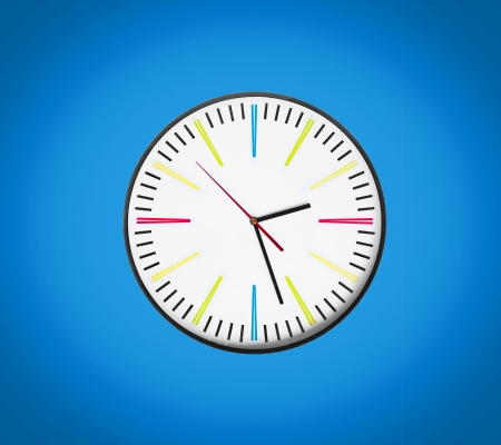 Clock isolated on blue background photo