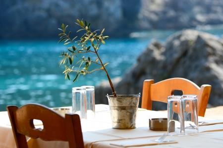 kreta: Griechische Taverne Konzept