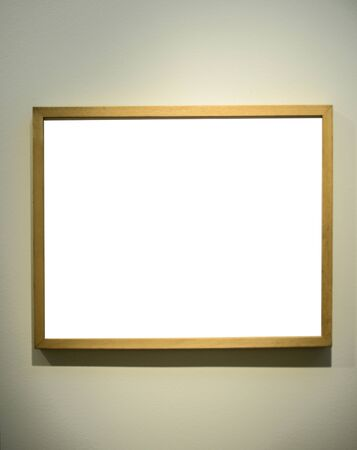 Empty picture frame on gallery wall photo