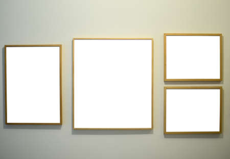 Picture frames on gallery wall photo