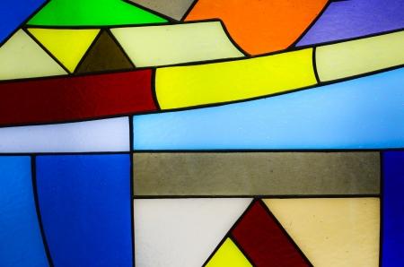 church window: Church window and colorful mosaic