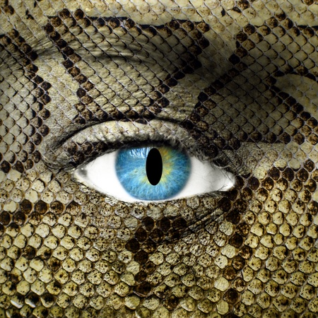 Human face with snake skin texture photo