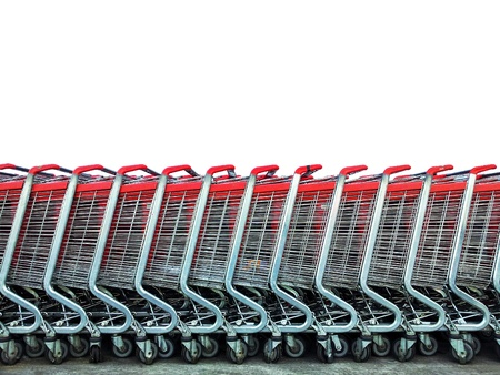 Group of market carts isolated on white - Shopping concept Stock Photo - 15918431