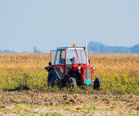 Tractor in field photo