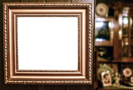 Empty vintage frame in antique room photo