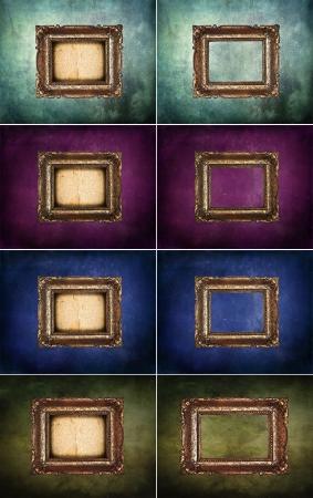 Set of empty antique golden frames on grunge wall photo