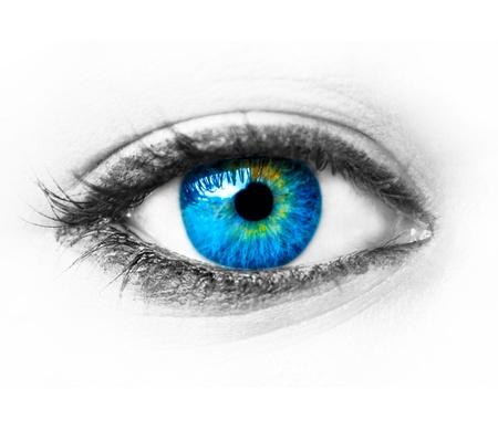 close up eyes: Blue woman eye extreme macro shot