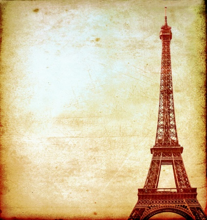 Eiffel tower vintage postcard photo