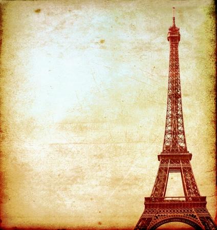 travel collage: Eiffel tower vintage postcard